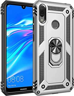 JMGoodstore Case Compatible with Huawei Y5 2019 [with HD Screen Protector] 360Rotation Magnetic Ring Holder, Dual Layer Shockproof Kickstand Slim Hybrid Impact Cover (Silver)