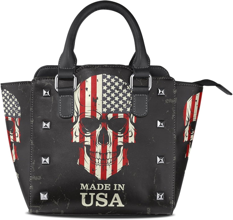 Sunlome Skull American Flag Print Women's Leather Tote Shoulder Bags Handbags