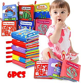 Fine Soft Book(Set of 6), Nontoxic Fabric Baby Cloth Activity Crinkle Soft Books Gift,Colorful Cloth Bookfor Infants Boys and Girls Early Educational Toys