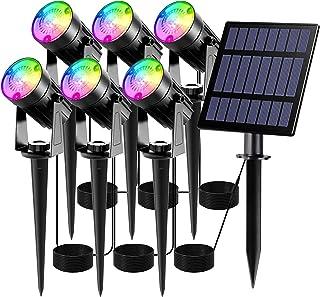 LED Solaire Projecteur T-SUN 6 Couleurs Lampe Solaire Exterieur Etanche RGB Spot Solaire Extérieur avec câble 3m Eclairage...