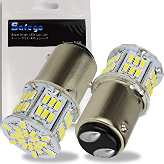 2x1157 BAY15D LED Bulb SAFEGO 6000K 5W Car Reverse Rear Turn Signal Parking Light 54SMD 3014 P21W White Lamp 12V Non-canbus,1 Year Warranty