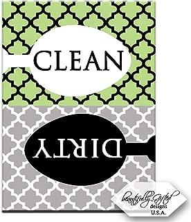 Clean Dirty Dishwasher Magnet Dishes Sign – Cute Elegant Quatrefoil Moroccan Trellis Modern Pattern – GREEN BLACK GREY – 3.5 x 2.5 – Housewarming, Bridal Registry & Gag Gift Idea for Men Women Teens
