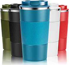 Travel Mug Reusable Coffee Cups Thermal Insulated Vacuum Insulation Stainless Steel Bottle for Hot Cold Drinks (Blue, 380ml)