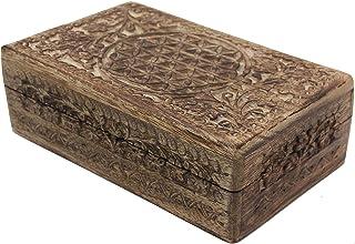 Hand Carved Jewelry Trinket Keepsake Wooden Storage Box (Large, Flower Of Life)