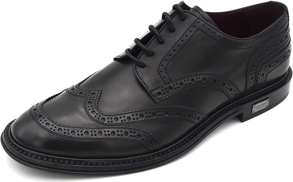 Dolce & gabbana,  scarpa derby francesina classica business per donna,in pelle A10421