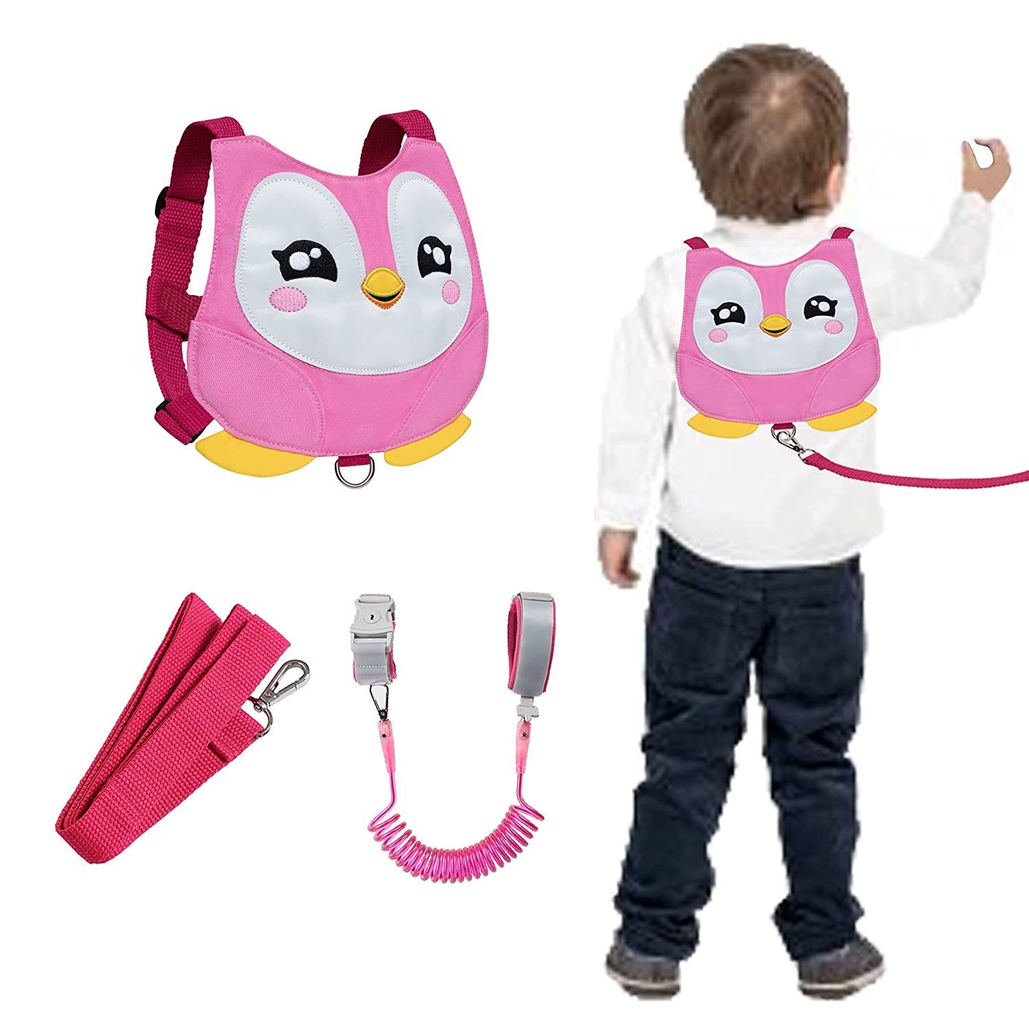 Penguin Toddlers Safety Harness with Leashes Kids Anti Lost Wrist Leash Link Wristlets (Penguin Pink)