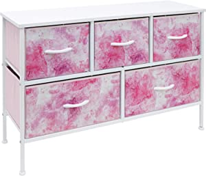Sorbus Dresser with 5 Drawers - Furniture Storage Chest for Kid's, Teens, Bedroom, Nursery, Playroom, Clothes, Toys - Steel Frame, Wood Top, Fabric Bins (5-Drawer, Pink)