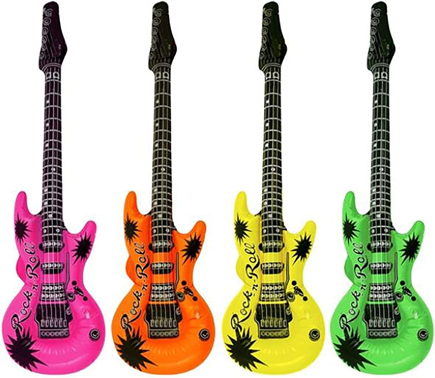 12 x 106cm Assorted Colour Inflatable Guitars for Birthday Parties, Barbecues, Gigs and Concerts. Green, orange, Yellow and Pink