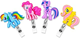 Finex Set of 4 My Little Pony Badge ID Clip Reel Retractable Holder Office Work Nurse Name Badge Tag Clip On 30 inch Cord Extension Fluttershy Rainbow Dash Twilight Sparkle Pinkie Pie