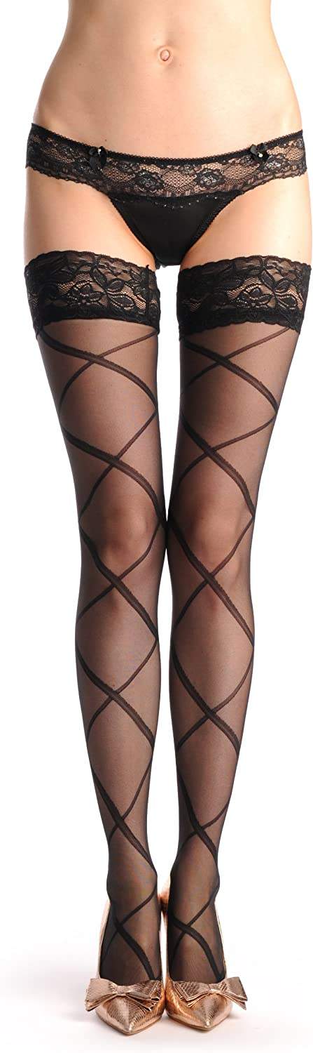 Large Semi Transparent Rectangles With Lace Silicon Garter - Hold Ups