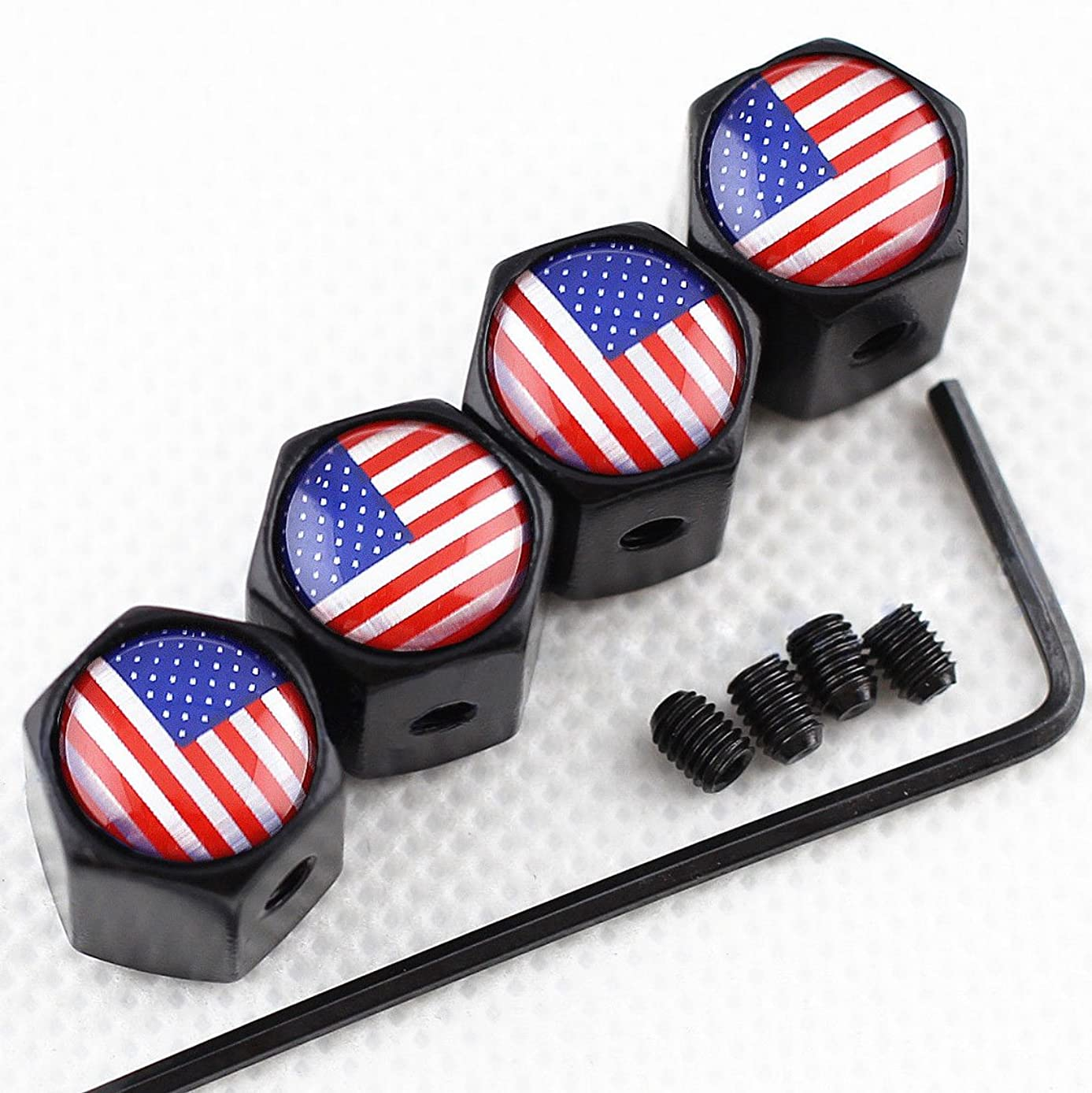 CHAMPLED New (4PC) Flag of USA Logo Metal Black Anti-Theft Wheel TIRE AIR Valve STEM CAPS DUST Cover