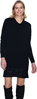 State Cashmere Women's Cowl Neck Sweater Dress 100% Pure Cashmere Long Sleeve Sequined Hem Tunic
