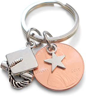 Star Charm Layered Over 2019 Penny Keychain With Cap Charm, Graduation Gift
