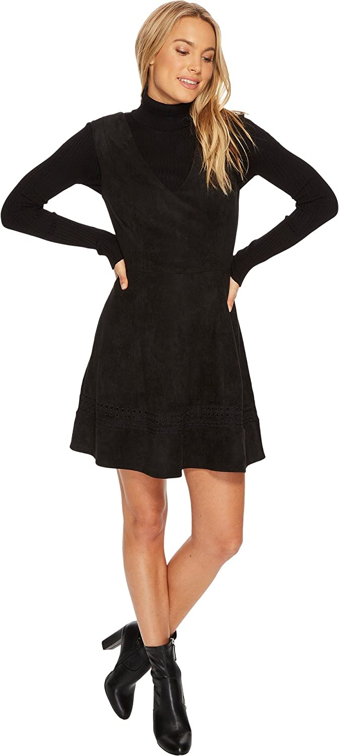 BB Dakota by Steve Madden womens Lynne Faux Suede Fit and Flare Dress With Embroidery