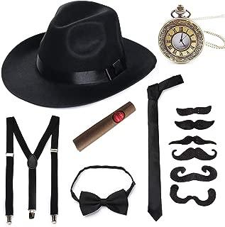 1920s Mens Accessory Set Hard Felt Wide Brim Panama Hat Gangster Theme Party