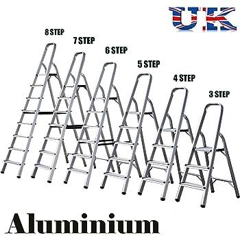 Escalera de aluminio plegable para el hogar, peso ligero, capacidad de 150 kg, 3 pasos, 5 pasos, 6 pasos, 7 escalones, 8 peldaños: Amazon.es: Bricolaje y herramientas
