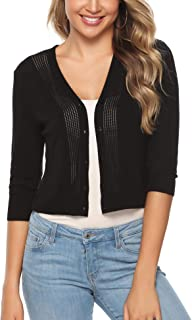 Women Cropped Bolero Shrug 3/4 Sleeve Crochet Button Down Cardigan Sweater