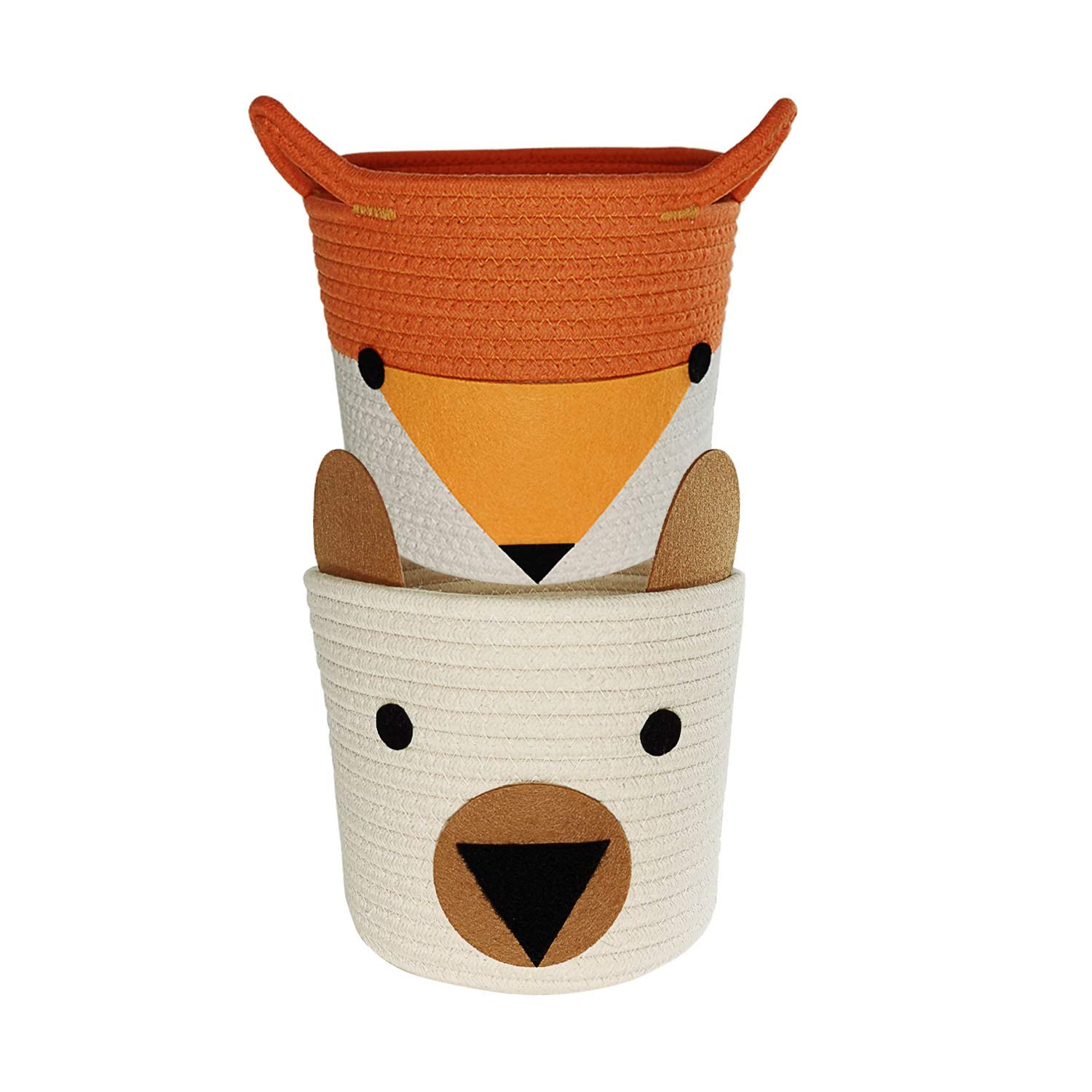 Small Woven Storage Baskets,2 Pack Cotton Rope Baskets for Toys,Towels,Nursery,Kids Room,Decorative Hampers | Cute Pet Gift Basket for Cat,Dog-White Bear and Orange Fox