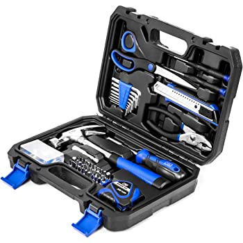 49-Piece Small Home Tool Kit, PROSTORMER General Household Repair Tool Set with Tool Box Storage Case - Great Gift for Beginners