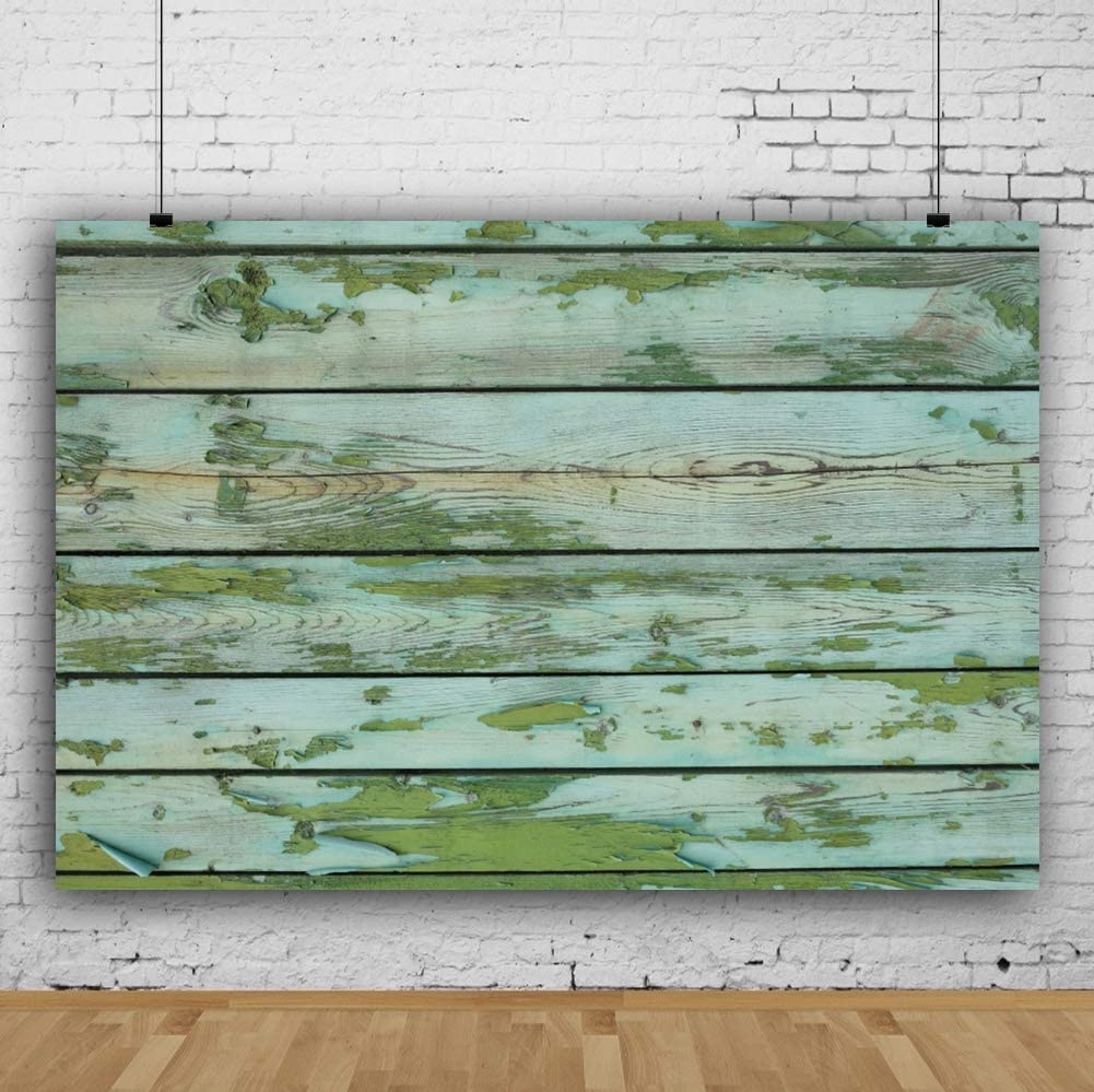 Grunge Wood Wall Background 3x5ft Birthday Vinyl Photography Backdrop Aged Shabby Mint Green Wooden Board Plank Faded Mottled Timber Barn Nostalgia Baby Shower Photo Prop Studio Wallpaper