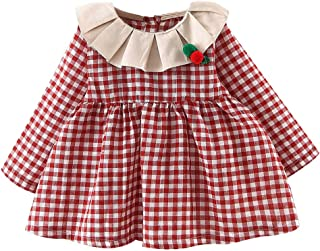 Baptism Gifts for Baby Girl,Toddler Baby Kids Girls Ruched Ruffles Plaid Print Dresses Casual Clothes