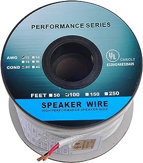 100ft (30m) Pro Series 12 Gauge 2-Conductor Speaker Wire (100 Feet / 30 Meter) 12AWG White 99.9% Oxygen Free Copper ETL Li...