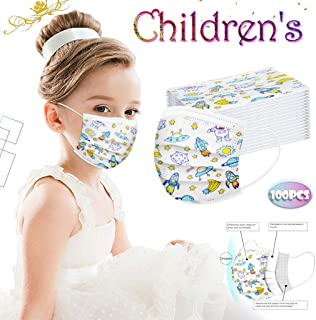 50PCS Children Face Cover, Fashion Anti-Particle Anti-droplet Anti-pollen Disposable Breathable 3-Ply Anti-Dust Face Cover With Elastic Earloop Non-woven,For Kids Kiddie Boys Girls (Aerospace)