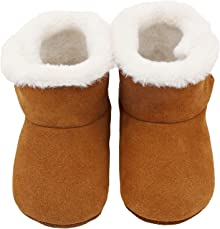 iEvolve Baby Leather Shoes Baby Hard Sole Shoes Anti-Slip Sole Warm Winter Boots