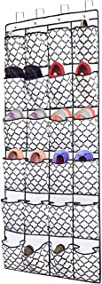 Over The Door Shoe Organizer,Hanging Shoe Holder with 24 Extra Large Fabric Pockets for Storage Men Sneakers,Women High Heeled Shoes,Slippers White with Grey Lantern Printing 68.5''x25.5''