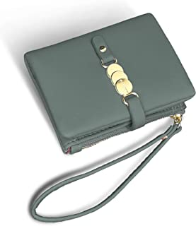 TOPKULL Wallets for Women Small Rfid Bifold Ladies Wallets Wristlet Change Purse for Card Coin with Wrist Strap (Green)