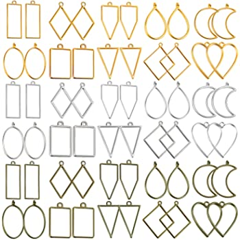 SourceTon Jewelry Findings DIY Pressed Flower Frame Assorted Geometric Hollow Trays 32 PCS Open Bezel Pendants Charms Resin Molds/and Silicone Molds