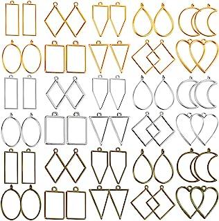Open Bezels for Resin, Shynek 60Pcs Hollow Frame Pendants Resin Craft Bezels Jewelry Molds for Resin Casting, Necklaces Ea...