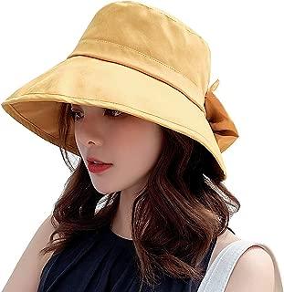KRATARC Summer Cotton Sun Hat Women Girls Fishing Cap Floppy Beach Sun Hat with Bowknot