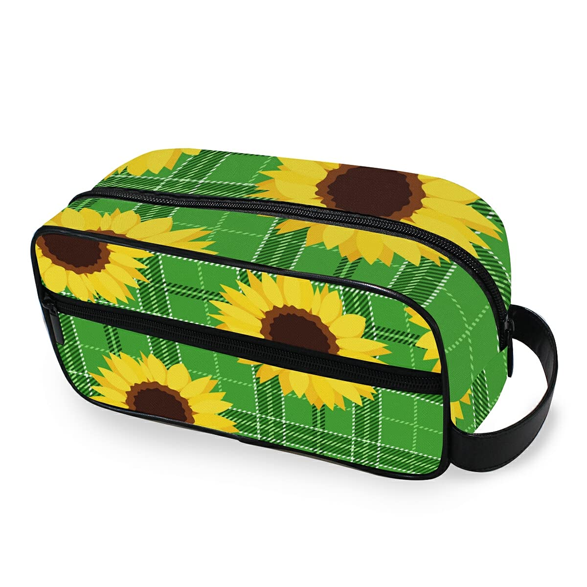Travel Toiletry Bag Nylon Dopp Shaving Kit Year-end gift Green Limited time cheap sale Sunflowers