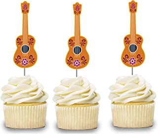 Guitar Cupcake Toppers 12 pcs, Luau Cake Picks Party Supplies Decoration, Music Baby Shower Themed Celebration