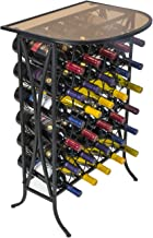 Sorbus Wine Rack Stand Bordeaux Chateau Style with Glass Table Top - Holds 30 Bottles of Your Favorite Wine - Elegant Looking French Style Wine Rack to Compliment Any Space (Wine Stand - 30 Bottles)