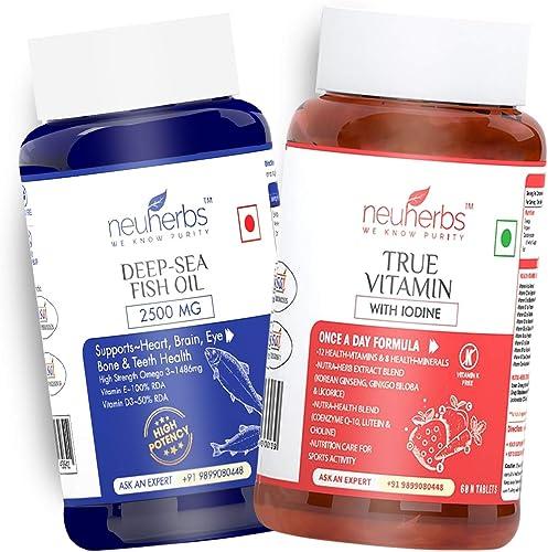 Neuherbs Daily Vitamin Supplements Combo Multivitamin Fish Oil Deep Sea Fish Oil 2500mg 60 softgel True Vitamin 60 tabs Immunity Combo