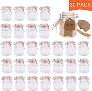 Small Glass Jars,Encheng Glass Jars With Airtight Lids 4 oz,Hexagon Jars With Leak Proof Rubber Gasket,Small Mason Jars With Hinged Lids For Kitchen,Mini Spice Jars With Twine And Tags Labeling 30Pack