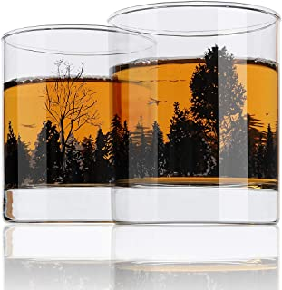 Whiskey Glass Set of 2 Forest Landscape Old Fashioned Whiskey Glass 11OZ Lead Free Hand Blown Heavy Base for Scotch Bourbon Cocktails Yurnero