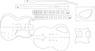 Electric Guitar Routing Template - SG