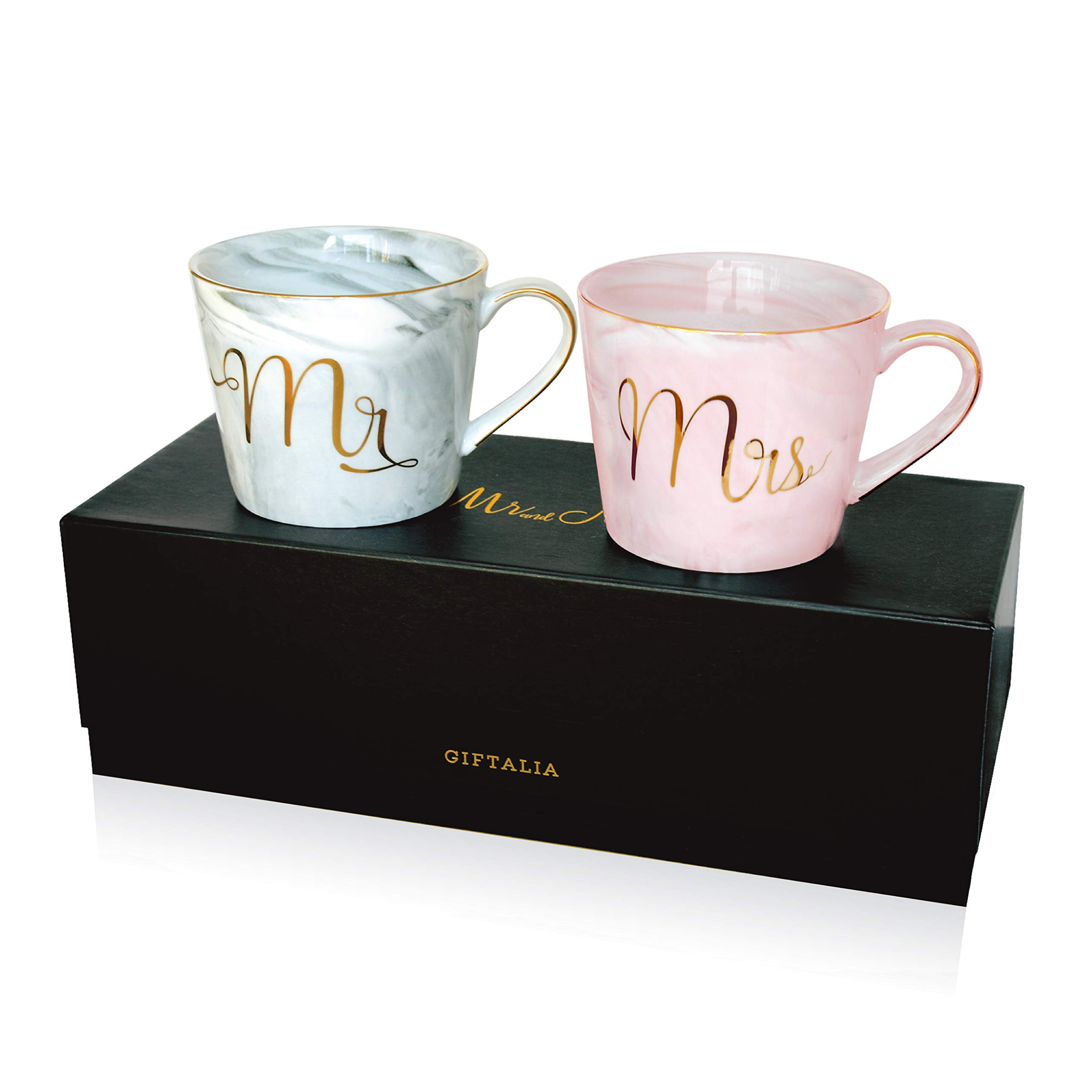 14 oz Perfect Personalized Gift for Engagement Anniversary Marble Ceramic Mugs Wedding Unique Elegant Bride Gift Bridal Shower Fantasy Functions Premium Grade Mr and Mrs Coffee Mugs