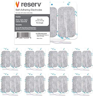 reserv 2 x 4 Rectangle Premium Re-Usable Self Adhesive Electrode Pads for TENS/EMS Unit, Fabric Backed Pads with Premium Gel (White Cloth and Latex Free) (16 Electrodes)