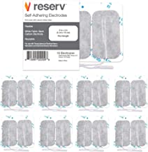 "reserv 2"" x 4"" Rectangle Premium Re-Usable Self Adhesive Electrode Pads for TENS/EMS Unit, Fabric Backed Pads with Premium Gel (White Cloth and Latex Free) (16 Electrodes)"