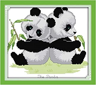 Cross-Stitching Pattern for Home Wall Decor 11CT 3 Strands Embroidery Crafts Needlepoint Kits for Beginner Kids Adults 17.32 x 17.32 Inch Frameless- Bird in Flower XSHION Stamped Cross Stitch Kits