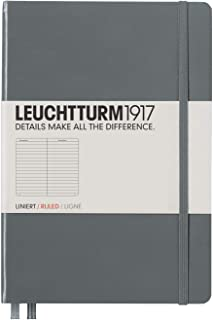 Leuchtturm1917 Hardcover Ruled Pages Notebook, Medium A5 Size, Anthracite (344782)
