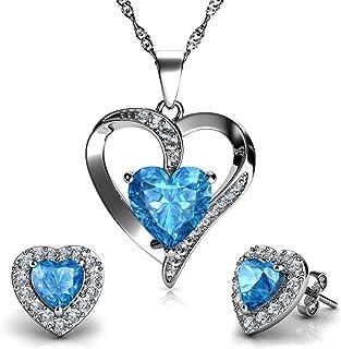 DEPHINI - Heart Necklace & Heart Earrings Set - 925 Sterling Silver - Aqua Birthstone - Blue Crystal Studs & Pendant - Fin...