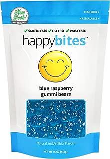Happy Bites Blue Raspberry Gummi Bears - Gluten Free, Fat Free, Dairy Free - Resealable Pouch (1 Pound)