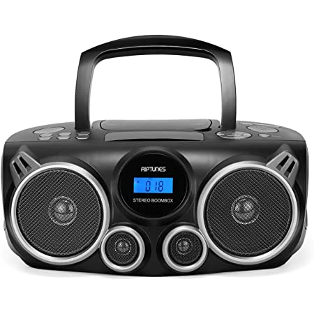 RIPTUNES Bluetooth Portable Cd Player Stereo Sound System Digital Tuner AM/FM Radio, USB/SD MP3 Cd Boombox System with Enhanced Bass, Aux in, Headphone Jack, CD-R/CD-RW Compatible LCD Display, Black