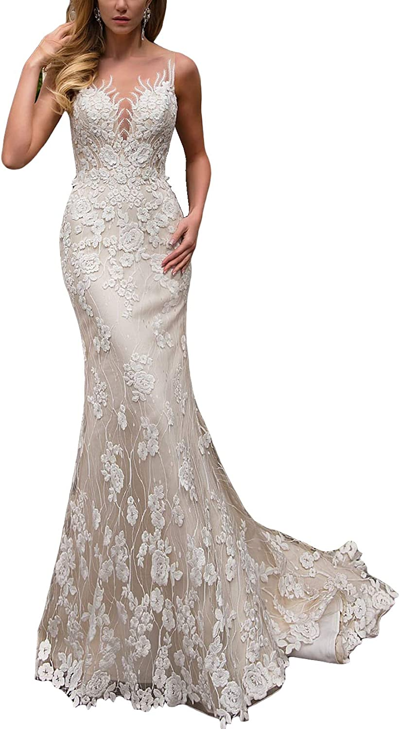 Fenghuavip Lace Mermaid Wedding Dress V Neck for Bride Satin and Tulle with Appliques