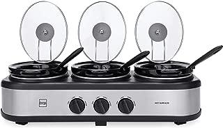 Best Choice Products 4.5qt 300W Triple Slow Cooker Buffet Server w/ 3x 1.5-Quart Dishwasher-Safe Ceramic Pots, 3 Adjustable Temperature Settings, Lid Rests, 3 Glass Lids, 3 Serving Spoons, Silver
